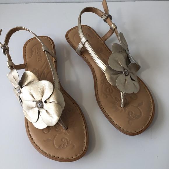c336aa70f9d187 Born Shoes - Born Silver Metallic Floral Sandals